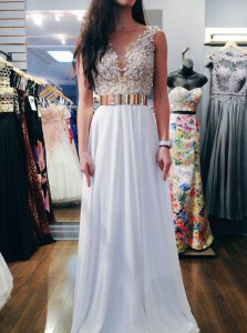 Backless White Sleeveless Beading Floor Length Dress for Prom