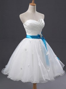 Perfect Mini Length White Homecoming Dress Organza Sleeveless Appliques and Sashes ribbons and Ruching