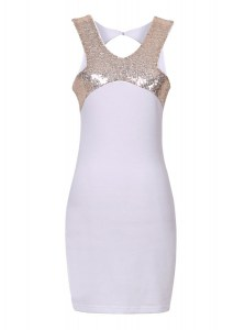 Modest Sequins Halter Top Sleeveless Zipper Evening Dress White Elastic Woven Satin