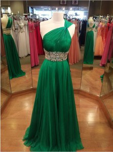 One Shoulder With Train Backless Dress for Prom Green for Prom and Party with Beading Brush Train