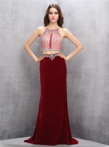 Scoop With Train Column/Sheath Sleeveless Burgundy Homecoming Dress Sweep Train Criss Cross