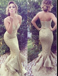Mermaid Gold Evening Dress Sweetheart Sleeveless Brush Train Zipper