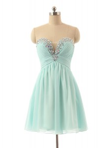 Unique Light Blue Sweetheart Zipper Beading Prom Evening Gown Sleeveless