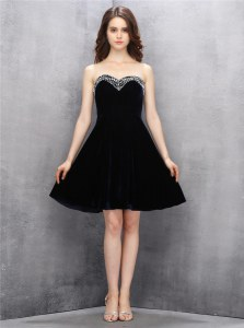 Free and Easy Black A-line Beading Prom Dresses Zipper Satin Sleeveless Knee Length