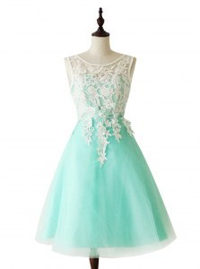 Scoop Apple Green Sleeveless Knee Length Appliques and Sashes ribbons Zipper Dress for Prom