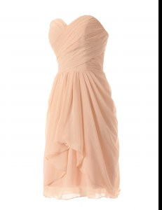 Peach Sleeveless Knee Length Ruffles Zipper Prom Dress