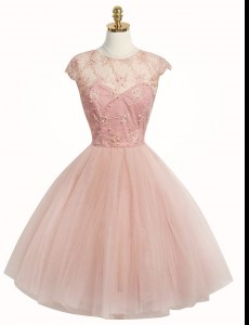 Custom Fit Scoop Cap Sleeves Tulle Knee Length Zipper Evening Dress in Pink with Appliques