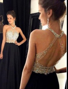 Lovely Black A-line Scoop Sleeveless Chiffon Floor Length Zipper Beading Prom Gown