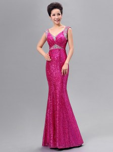 Low Price Mermaid Sequins Floor Length Fuchsia V-neck Sleeveless Zipper