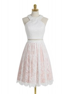 Amazing Halter Top Sleeveless Zipper Homecoming Dress Pink And White Lace