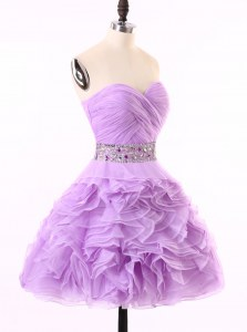 Lavender Sweetheart Zipper Beading and Ruching Cocktail Dress Sleeveless