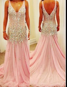 Pink Mermaid Beading Prom Dresses Zipper Tulle Sleeveless