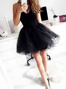 Affordable Mini Length Ball Gowns Sleeveless Black Cocktail Dresses Zipper
