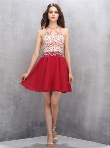 Fine Scoop Mini Length Red Evening Dress Chiffon Sleeveless Beading