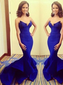 Floor Length Mermaid Sleeveless Royal Blue Prom Evening Gown Zipper