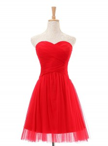 Colorful Red Sleeveless Knee Length Ruching Zipper Prom Dress