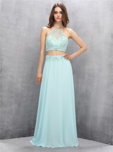 Enchanting Halter Top Sleeveless Zipper Evening Party Dresses Light Blue Chiffon