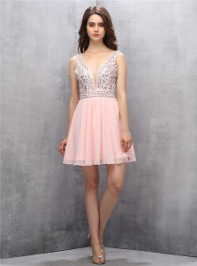 Traditional Sleeveless Chiffon Knee Length Zipper Evening Dress in Baby Pink with Beading