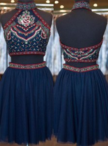 Enchanting Navy Blue High-neck Zipper Embroidery Evening Dress Sleeveless