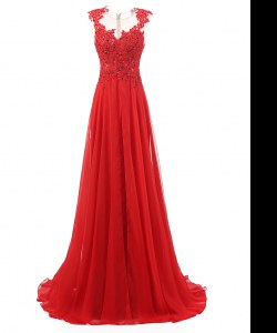 Red Chiffon Zipper V-neck Sleeveless With Train Prom Evening Gown Brush Train Appliques
