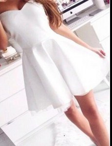 White Sweetheart Neckline Ruching Prom Party Dress Sleeveless Zipper