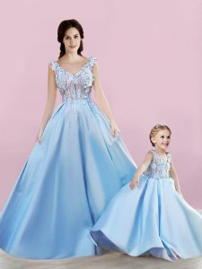 Enchanting Baby Blue Sleeveless Floor Length Appliques Lace Up Prom Evening Gown
