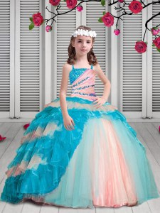 Gorgeous Spaghetti Straps Sleeveless Kids Formal Wear Floor Length Beading and Ruffles Multi-color Organza