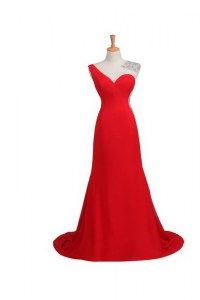 Beautiful One Shoulder Coral Red Sleeveless Beading Backless Evening Party Dresses
