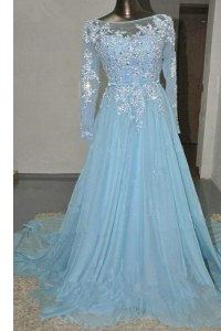 Vintage Baby Blue Evening Dress Prom and Party and For with Appliques and Belt Bateau Long Sleeves Court Train Zipper