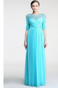 Scoop Floor Length Zipper Homecoming Dress Aqua Blue for Prom and Party with Beading and Ruching