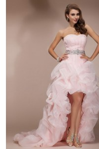 Baby Pink Ball Gowns Sweetheart Sleeveless Organza Floor Length Brush Train Zipper Beading Evening Gowns