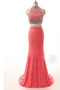 Watermelon Red Backless Cocktail Dresses Beading and Appliques and Belt Sleeveless Brush Train