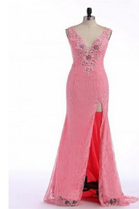 Best Selling Rose Pink V-neck Neckline Lace and Appliques Evening Outfits Sleeveless Backless