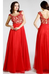 Latest Chiffon Bateau Sleeveless Zipper Beading and Appliques Prom Evening Gown in Red