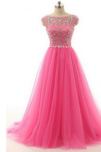 Lace Bateau Short Sleeves Zipper Beading Prom Gown in Hot Pink
