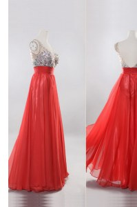 Cute Coral Red Column/Sheath Chiffon V-neck Sleeveless Beading Floor Length Zipper Prom Gown