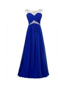 Amazing Royal Blue Column/Sheath Beading Dress for Prom Zipper Silk Like Satin Sleeveless Floor Length
