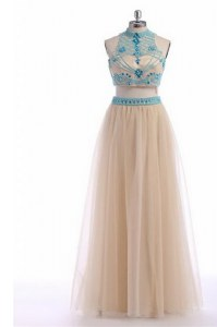 Modern Champagne High-neck Neckline Beading and Appliques and Belt Oscars Dresses Sleeveless Zipper