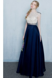 Scoop Floor Length Zipper Prom Dress Navy Blue for Prom and Party with Beading and Ruching
