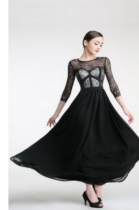 Fashion Black Scoop Neckline Lace Homecoming Dress 3 4 Length Sleeve Zipper