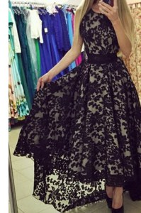 Exquisite Scoop Sleeveless Brush Train Zipper Formal Dresses Black Chiffon