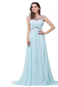Light Blue Zipper Scoop Beading Prom Evening Gown Chiffon Sleeveless Brush Train