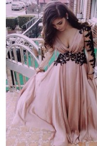 Flare Pink Column/Sheath Chiffon V-neck Long Sleeves Ruching Floor Length Zipper Prom Party Dress
