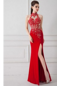 Trendy Red Zipper High-neck Beading and Appliques Prom Evening Gown Silk Like Satin Sleeveless