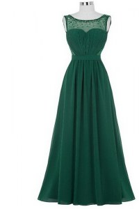 Chic Dark Green Column/Sheath Scoop Sleeveless Chiffon Floor Length Zipper Beading and Ruching Pageant Dress