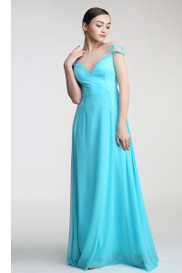 Fitting Floor Length Aqua Blue Prom Gown Scoop Short Sleeves Zipper