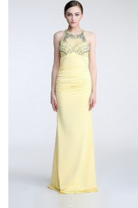 Scoop Floor Length Criss Cross Evening Gowns Light Yellow for Prom and Party with Beading and Ruching
