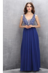 Sleeveless Floor Length Beading and Belt Zipper with Blue
