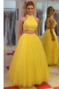 Yellow Chiffon Zipper Prom Party Dress Sleeveless Floor Length Sequins