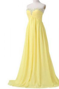 Brush Train Column/Sheath Prom Dress Light Yellow Sweetheart Chiffon Sleeveless With Train Lace Up